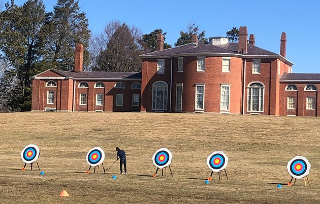 Getting targets ready for archery competition at the Gore Estate