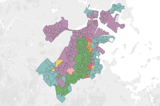 Map of Boston preliminary election results by precinct
