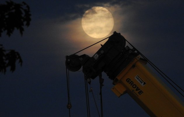 Moon over the West Roxbury Crushed Stone quarry