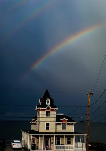 Rainbow over the water in Revere