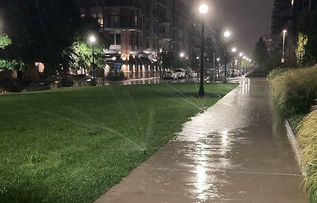 Sprinklers in the rain