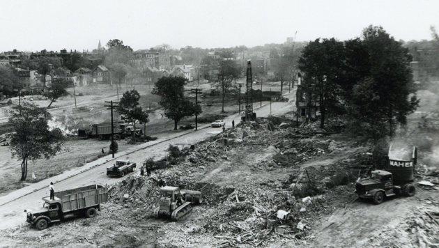 Construction scene in old Boston