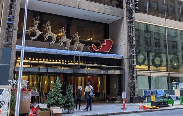 Christmas decorations on Devonshire Street in Boston