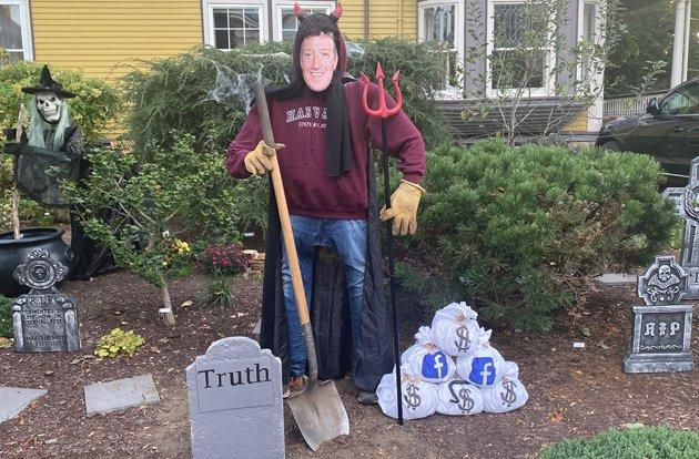 Anti-Facebook Halloween display in Jamaica Plain