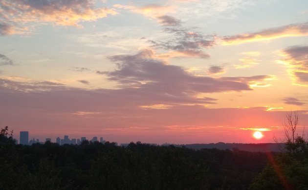 Orange sunrise over Peters Hill in the Arnold Arboretum and downtown Boston