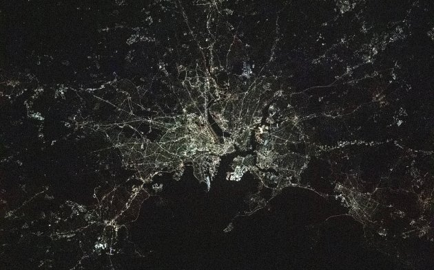 Boston area at night from space