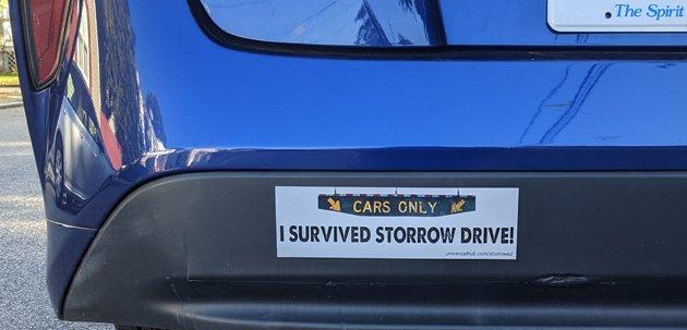 Bumper sticker: I survived Storrow Drive!