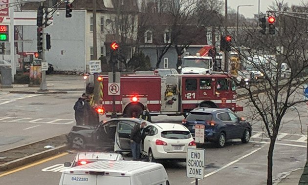 Car crash at Columbia Road and Dorchester Avenue