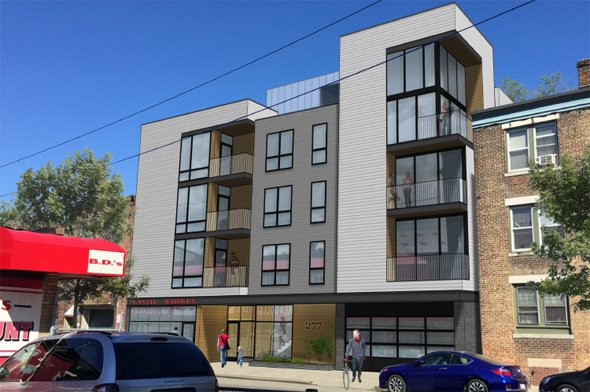 Architect's rendering of 277 Border St. in East Boston