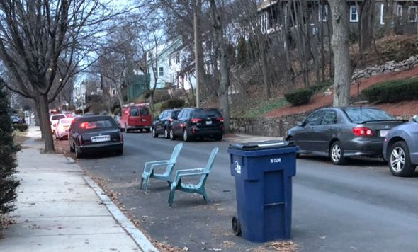 Chairs saving space on Redlands Road in West Roxbury