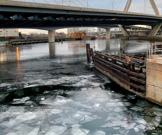Ice forming on the Charles River