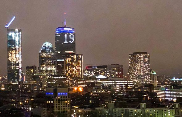 Prudential lit up to read 19