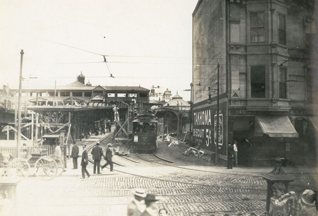 Trolley station in old Boston