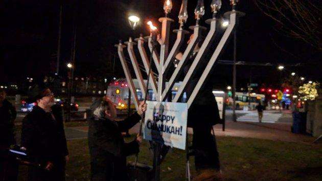 Relighting the Cambridge Common menorah