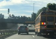 Bus backing up on Soldiers Field Road