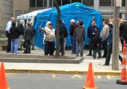 Decontamination tent at Brigham and Women's Hospital