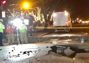 Buckled pavement after water-main break in the Back Bay