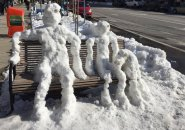 Snowpeople in Central Square