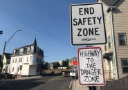 End Safety Zone, Start Danger Zone, according to Somerville signs