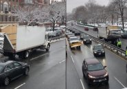 Two views of a truck that has had its roof peeled back by a Storrow Drive bridge
