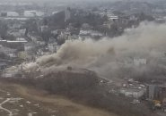 Casket-company fire from the air in East Boston