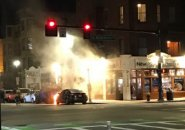 Flaming car on Columbus Avenue