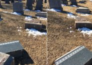 Knocked over tombstones in West Roxbury cemetery