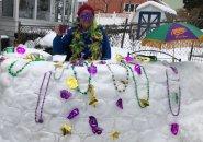 Mardi Gras snow bar in Roslindale