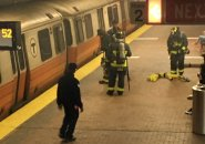 Firefighters at Forest Hills Orange Line station