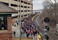 Pats fans waiting for train in Salem