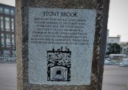 New monument to Stony Brook, creek that runs under the Arborway at Forest Hills