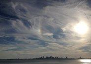 Swirly skies over Boston Harbor as seen from Deer Island