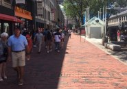 Tourists in the shade at Faneuil Hall Marketplace