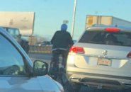 Bicyclist on the Southeast Expressway