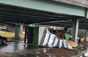 Destroyed truck on Storrow Drive