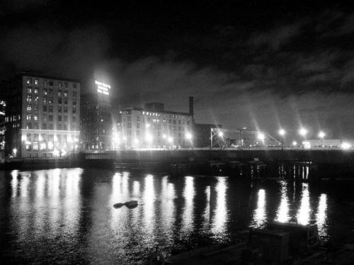 Fort Point Channel at night