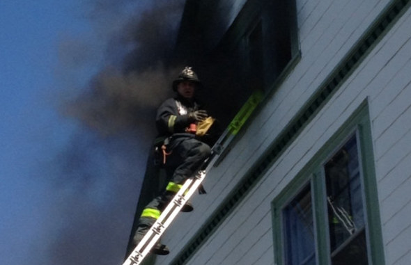 Firefighter at Dorchester fire