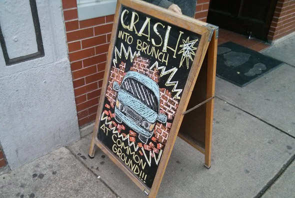 Common Ground sign after crash