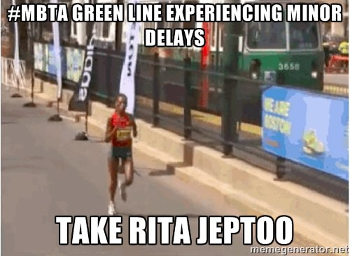 Rita Jeptoo faster than the T
