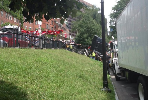 Truck on the Common being towed away