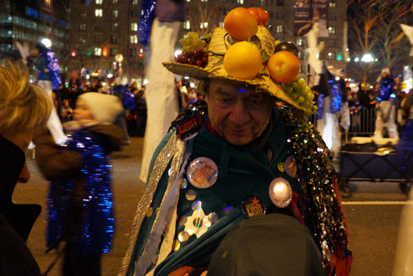Sticker guy in First Night parade
