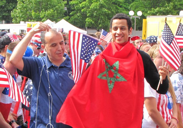 Fan with Moroccan flag