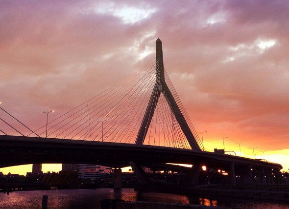 Sunset over the Zakim