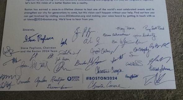 Signed Boston 2024 leaflet