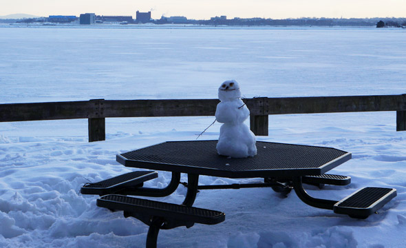 Snowman at Castle Island