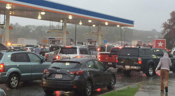 Cars jammed at Lexington rest stop