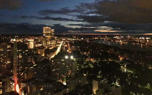 Back Bay at night from the Millennium Tower