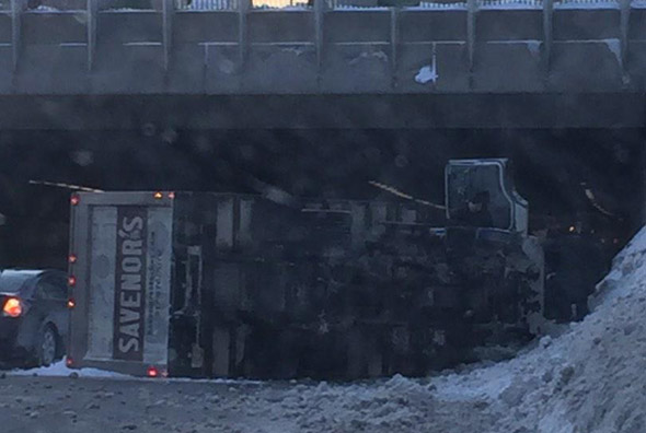 Overturned truck on I-93 in Boston