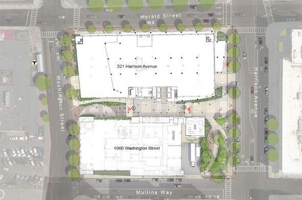Proposed 321 Harrison Ave. map