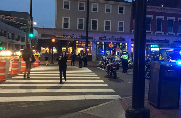 Central Square blocked by police